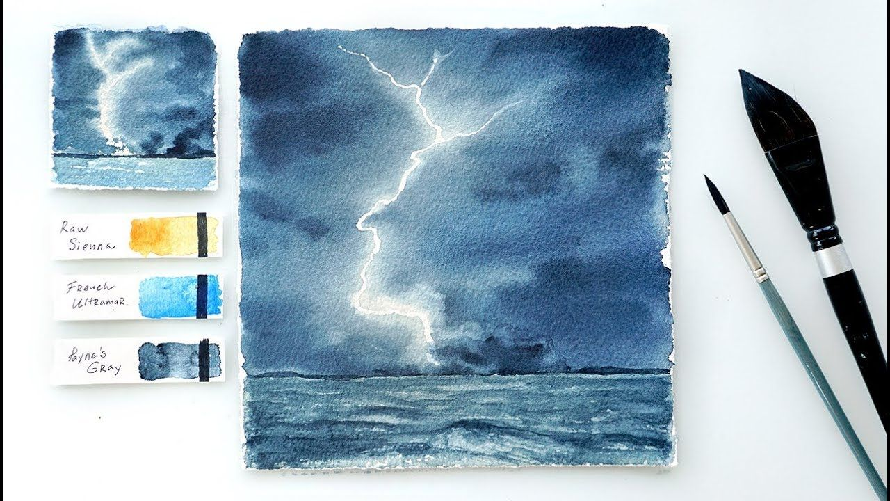 Lightning Storm Step By Step Watercolor Tutorial Watercolour