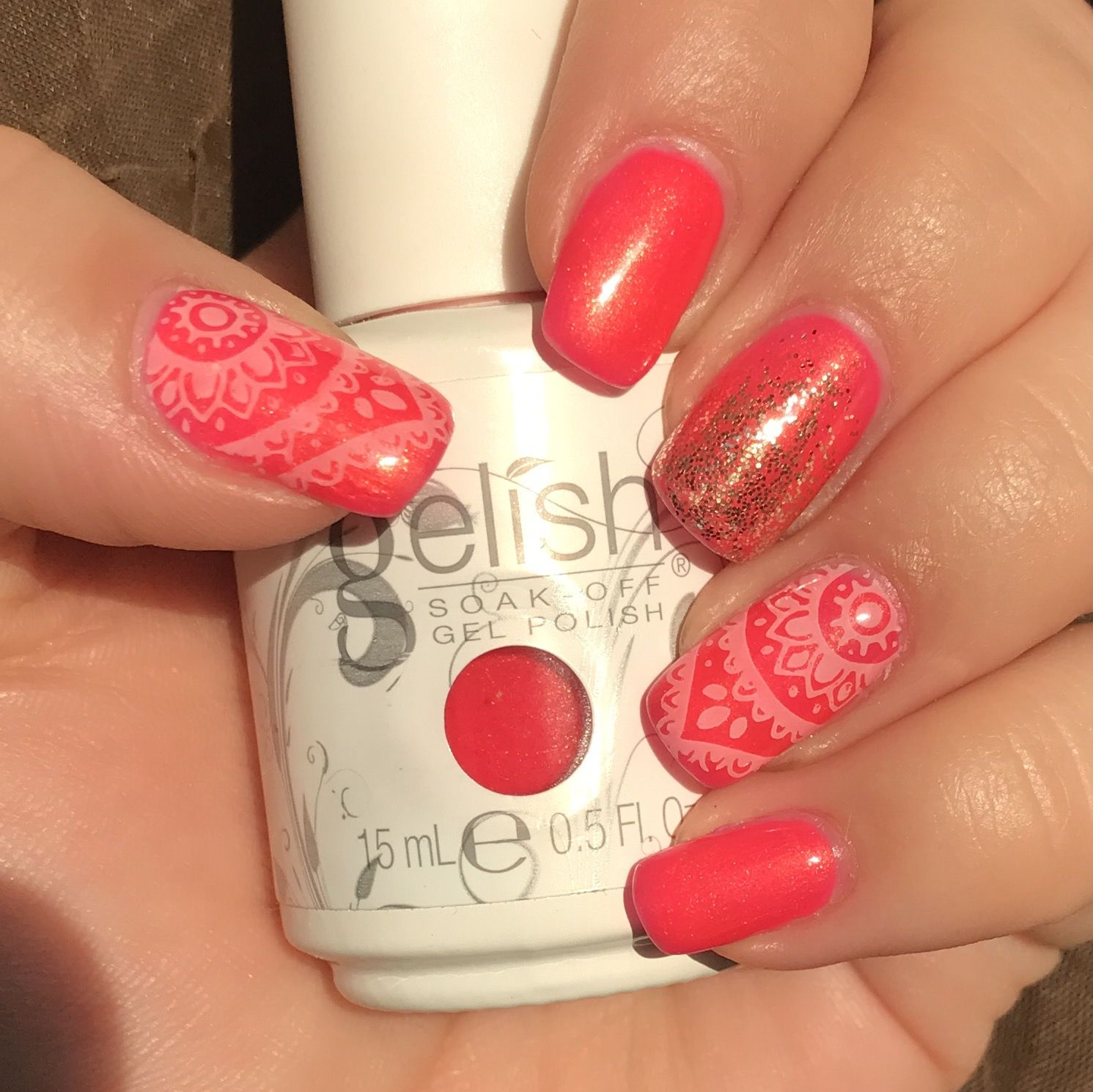 Gelish hip hot coral with young nails everyday art screen | Nail ...