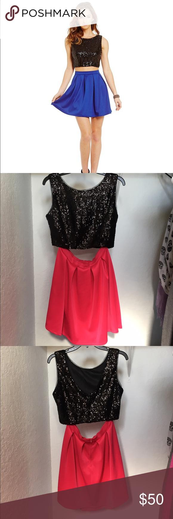 Black u pink two piece b darling dressfirm pink two piece
