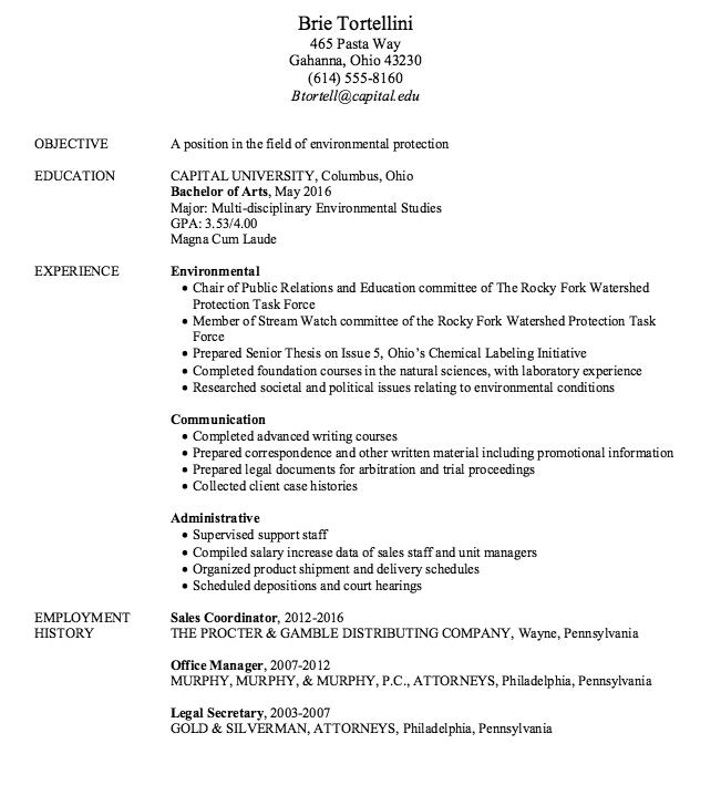 Sample Environmental Protection Resume