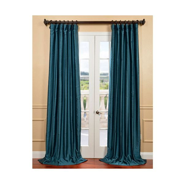 Half Price Drapes Fiji Yarn Green 50 X 96 Inch Dupioni Curtain 64 Liked On Polyvore Featuring Home Home Decor W Half Price Drapes Silk Curtains Curtains