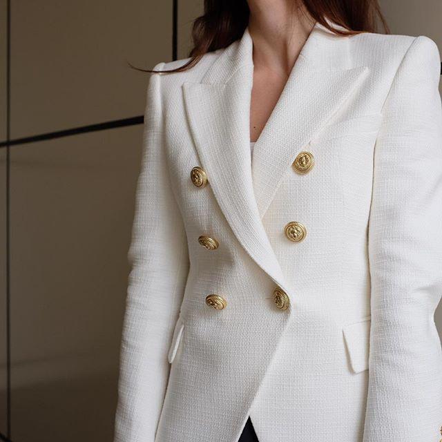 Balmain blazer white gold buttons (yasmin_dxb instagram) | My ...