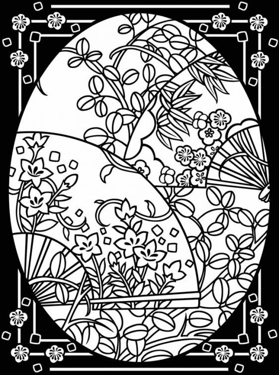 Beautiful Easter Egg Stained Glass Printable Coloring Page For Adults
