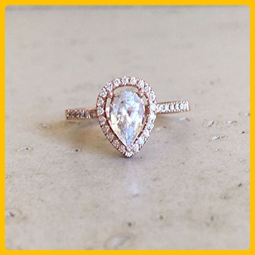 Rose Gold White Sapphire Engagement Ring- Halo Pear Shape Sapphire Ring- White Sapphire Promise Ring- Alternative Engagement Ring - Wedding and engagement rings (*Amazon Partner-Link)