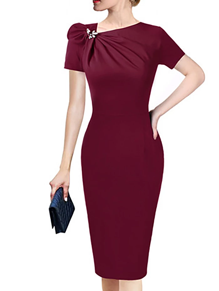 Photo of Asymmetric V Neck Sheath Cocktail Elegant Solid Midi Dress