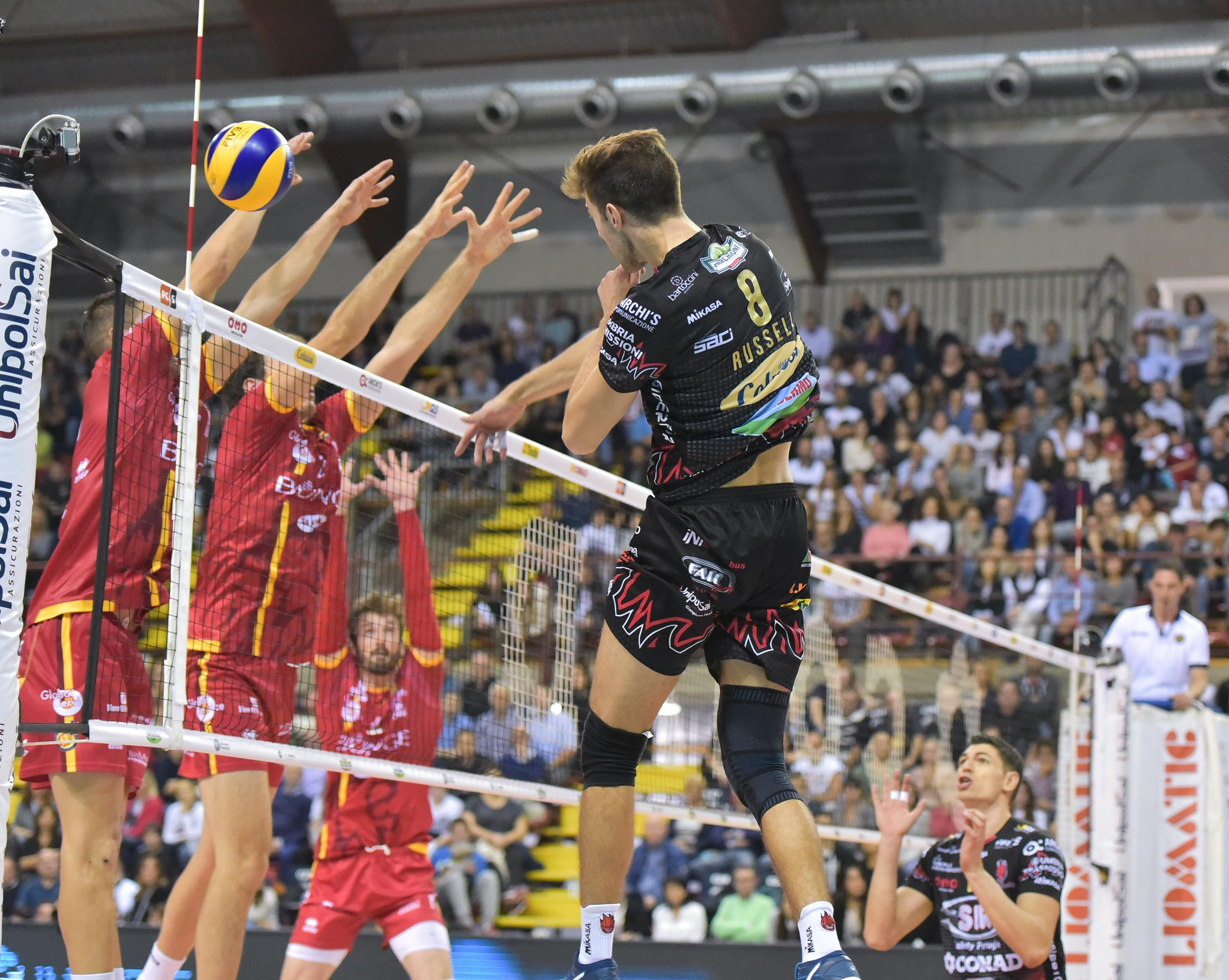 Russell Attacks For Perugia In 2020 Volleyball Basketball Court Perugia