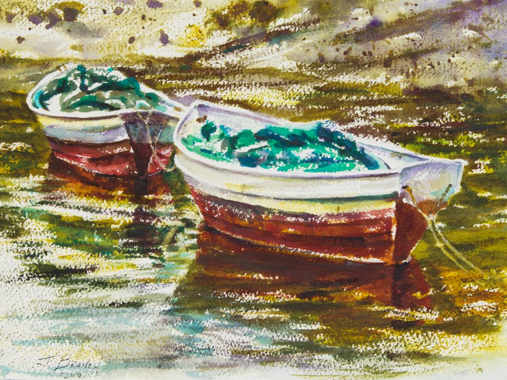 Watercolor Painting Tutorial Of Maine Boats Watercolor Paintings