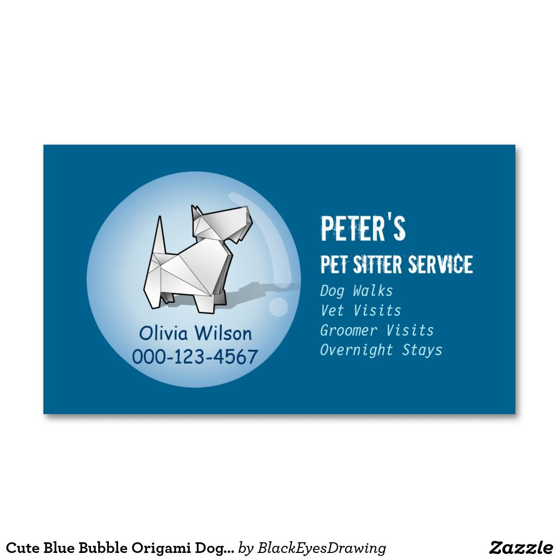 Cute Blue Bubble Origami Dog Pet Sitting Service Business Card | Pet ...