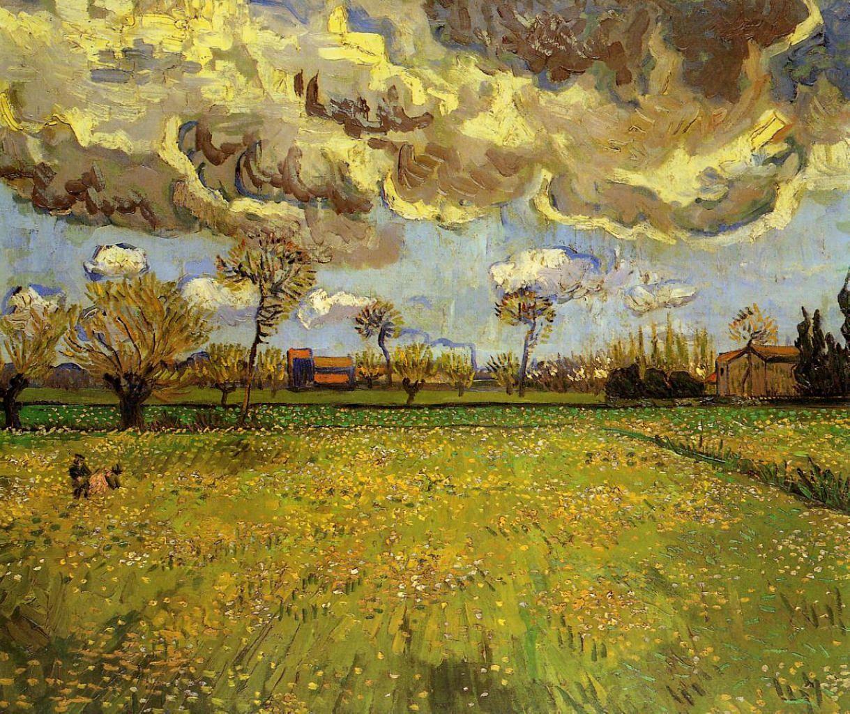 Landscape Under A Stormy Sky Vincent Van Gogh Wikiart Org Van Gogh Landscapes Artist Van Gogh Van Gogh Art
