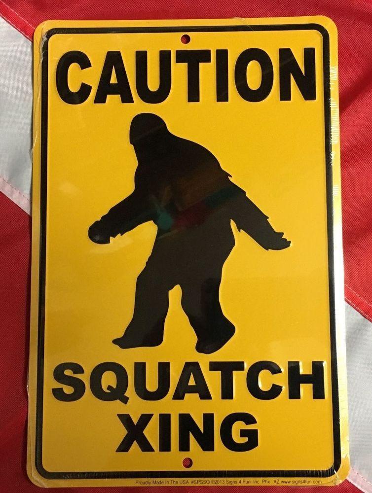 Sasquatch Crossing Funny Metal Aluminum Novelty Sign