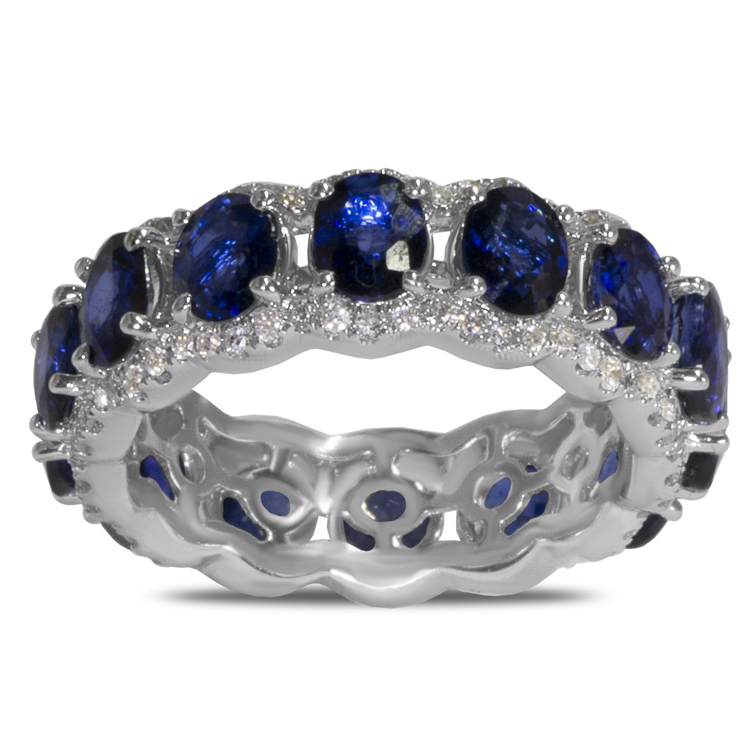 sapphire ring forzieri in bands jewelry eternity s band lyst natural blue women