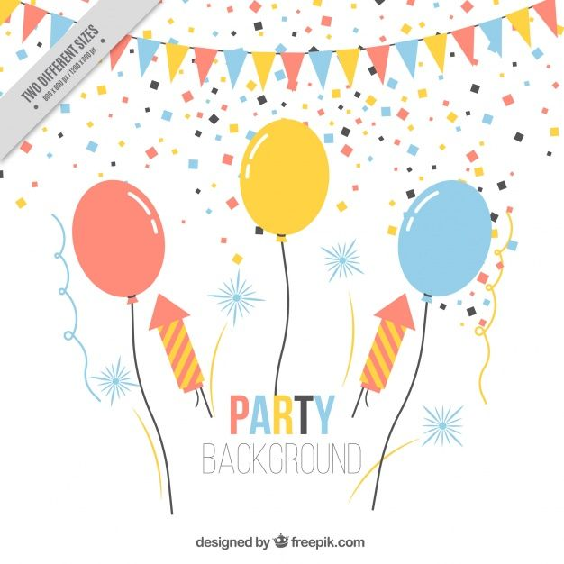 Download Birthday Party Background With Balloons And Confetti For