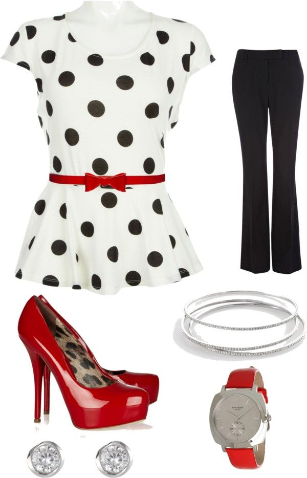 """Polka dot top - Work"" by brittjade ❤ liked on Polyvore"
