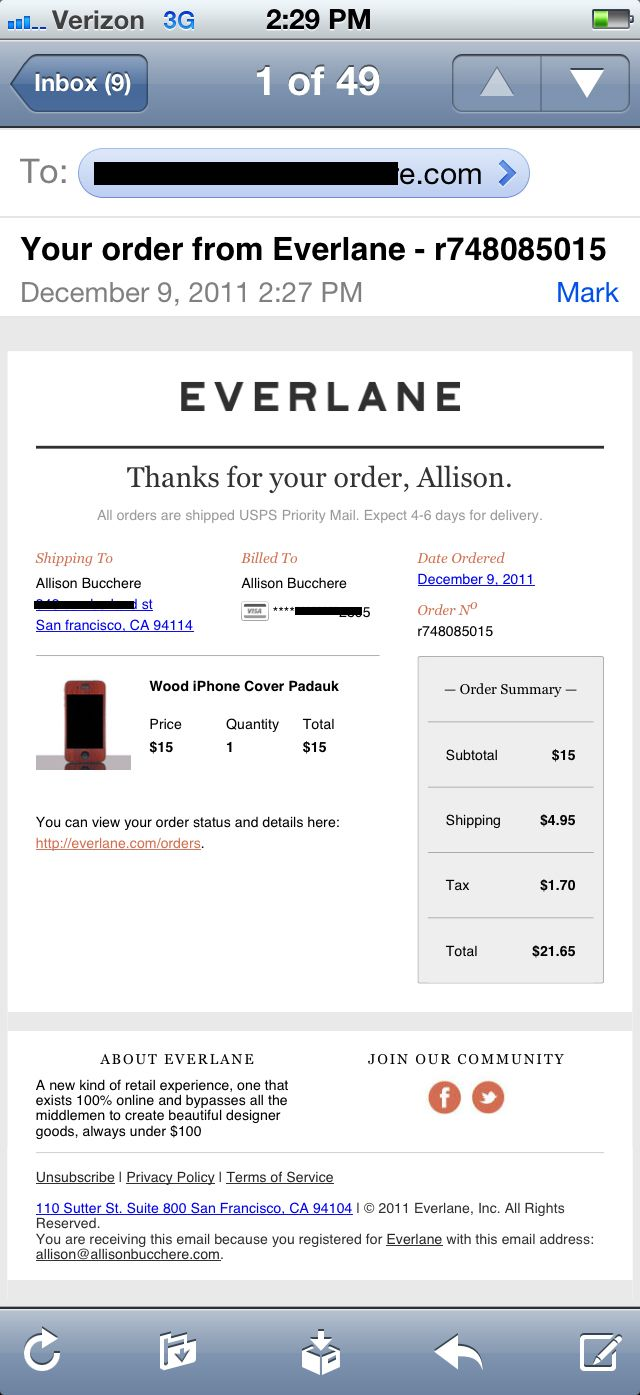 Email Order Confirmation Personalized Open Well Organized