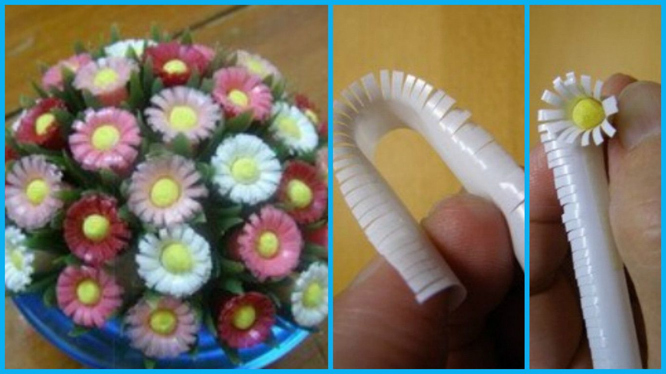 How to make beautiful flowers from drinking straws Tools / materials straw,scissors, A4 paper, knives 1,Take some straw, cut in