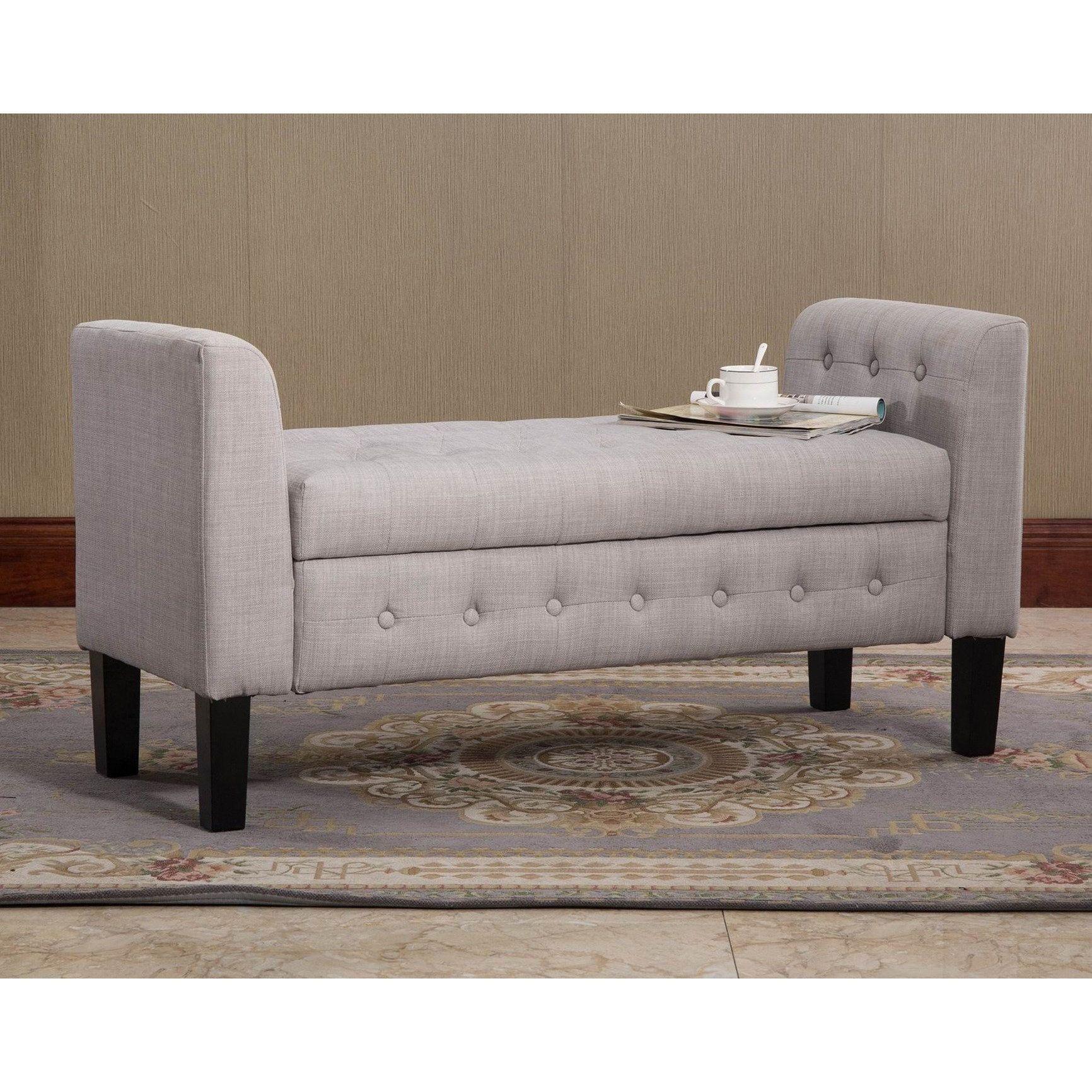 Warehouse of Tiffany Domeli Grey Fabric Storage Ottoman (Gray Fabric ...