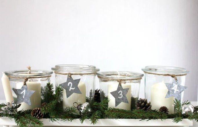 Kerzen In Glasern Mit Zahlen Kreative Ideen Fur Den Adventskranz