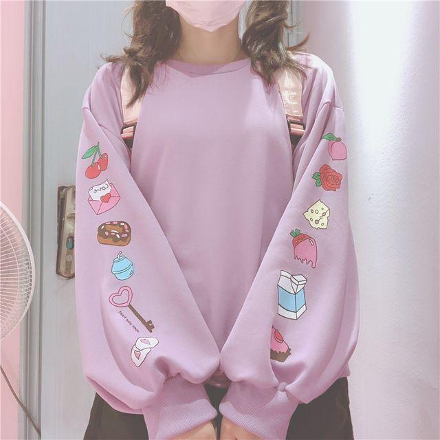 Cute Cartoon Pattern Loose Sweatshirts For Kawaii Girl Long Sleeve Pullover Lolita Autumn Women'S Clothing 2