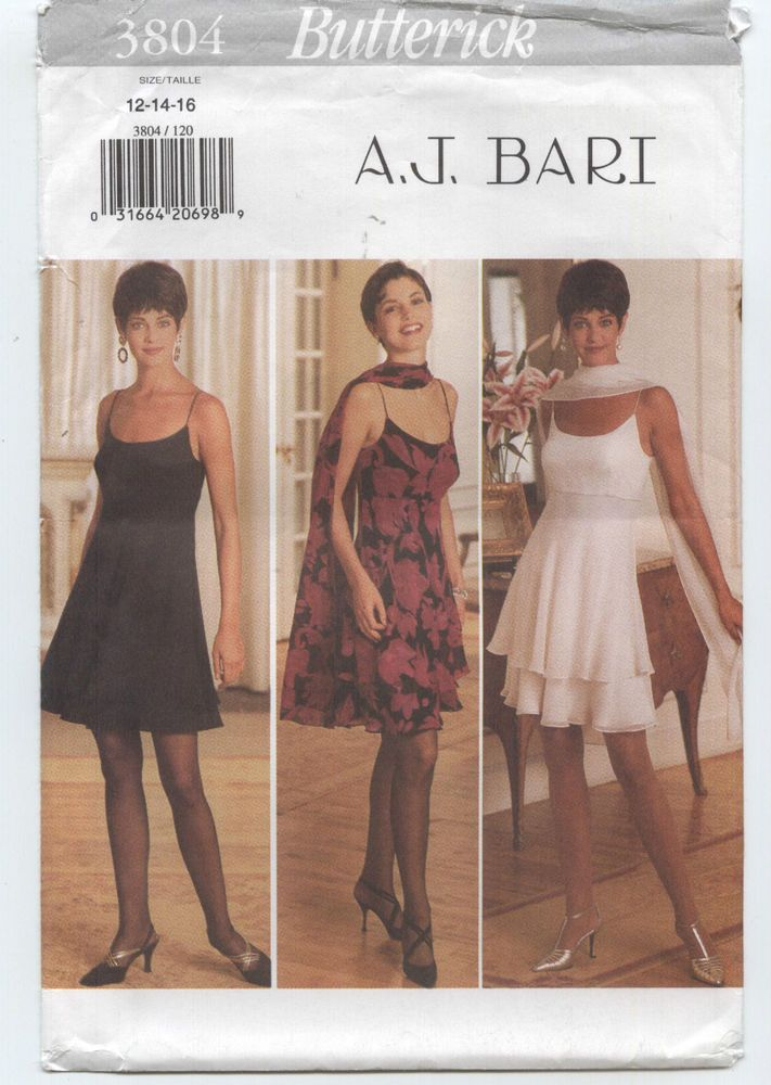 Misses Dress Stole Flared Skirt 2 Layers Butterick Sewing Pattern ...