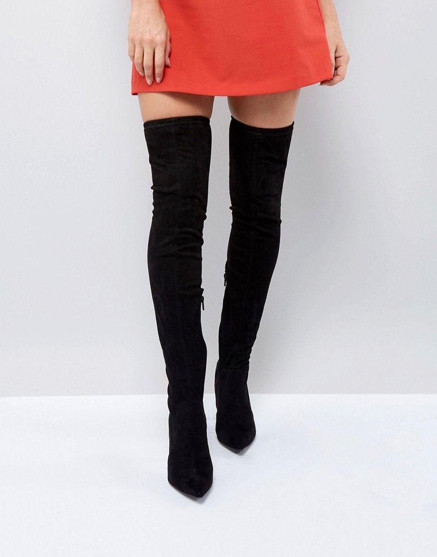 RAID – Flache Overknee Stiefel mit Nieten