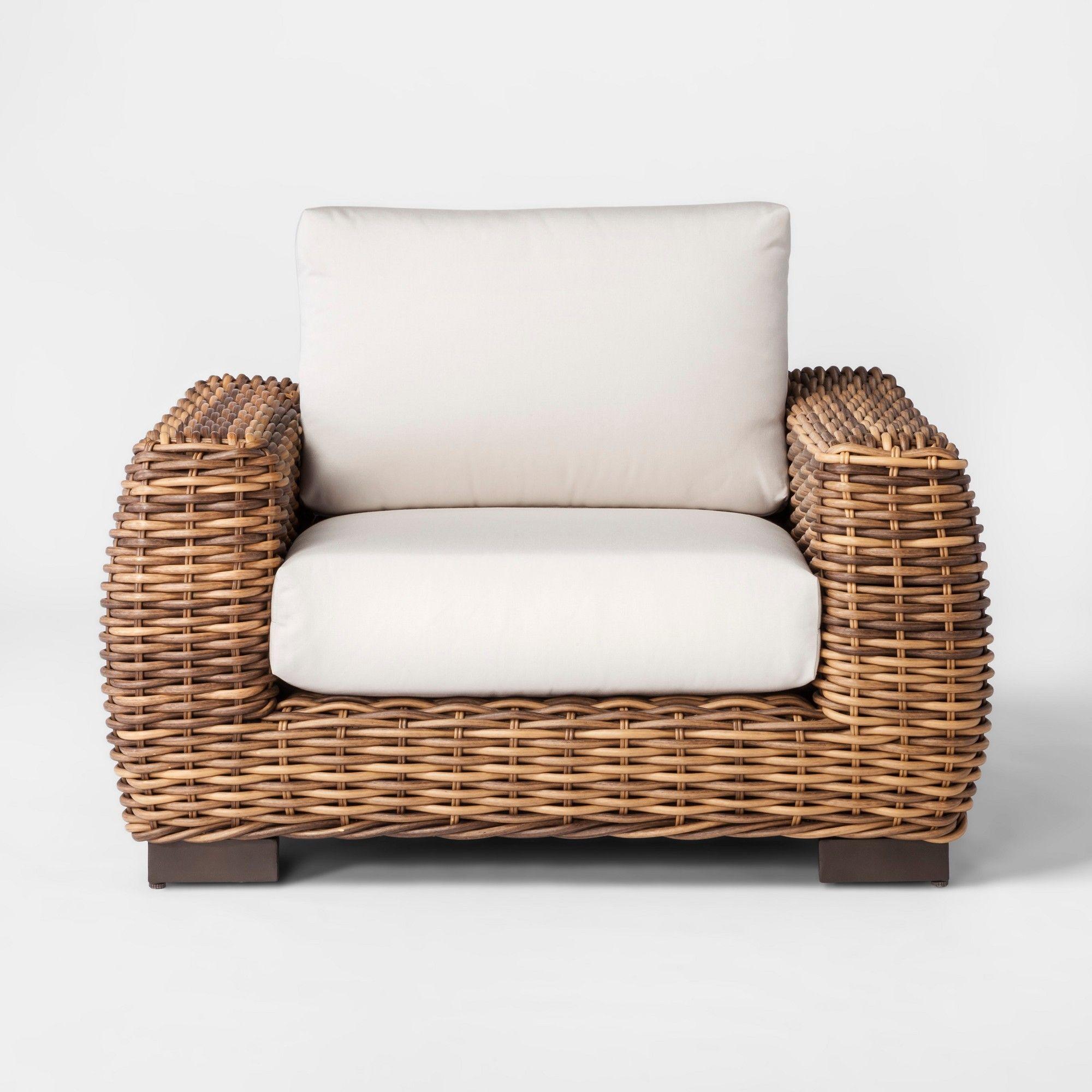 Eldridge Wicker Patio Club Chair With Sunbrella Cushions Smith Hawken