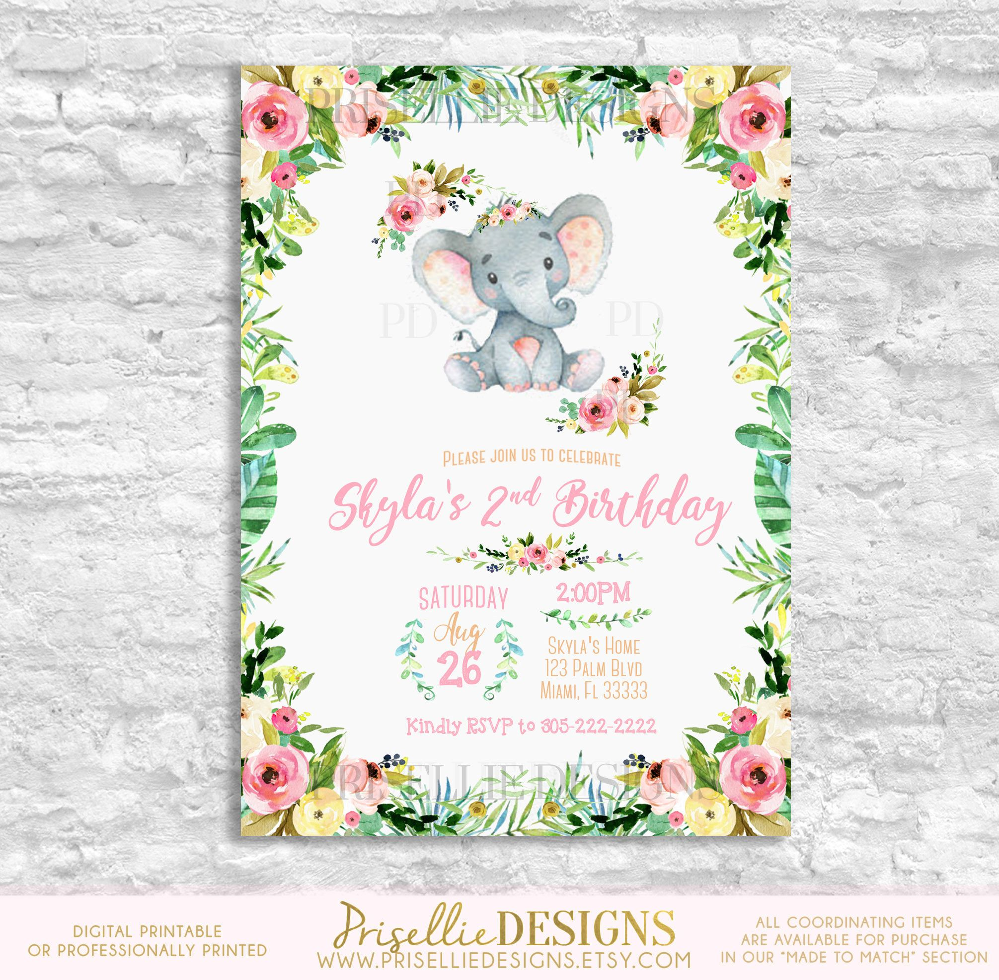 Elephant Birthday Invitation, Baby Elephant Birthday Invitation ...