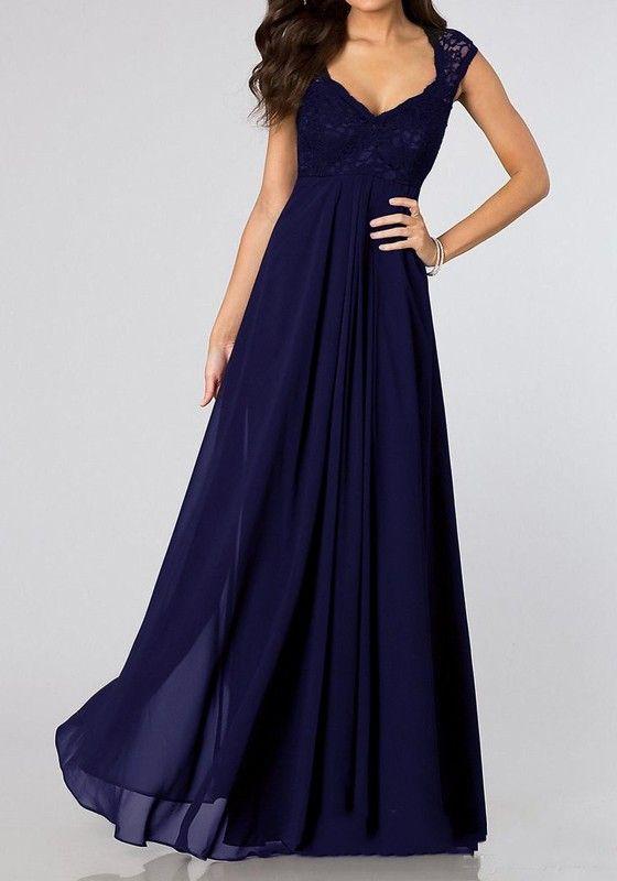 Blau flickwerk spitze plissee v ausschnitt rmellos elegantees chiffon maxikleid abendkleid lang - Plissee kleid lang ...
