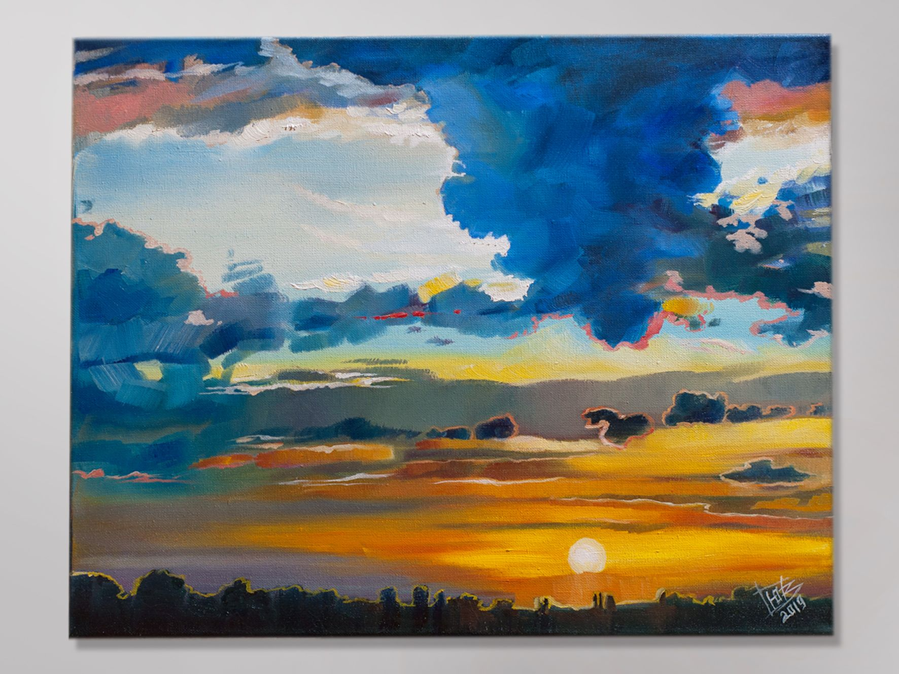 Sunset Oil Painting Colorful Clouds Painting Original Oil Painting Of Clouds Original Art Landscape Painting Canvas Painting Cloud Painting Colorful Clouds Painting
