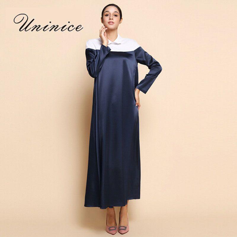 ab4a84ec12c0 UNINICE Women Muslim Dress Abaya Turkish Islamic Abaya Dubai Robe Navy Blue  Abayas for Women Islam Clothing Maxi Long Dresses #Islamic clothing