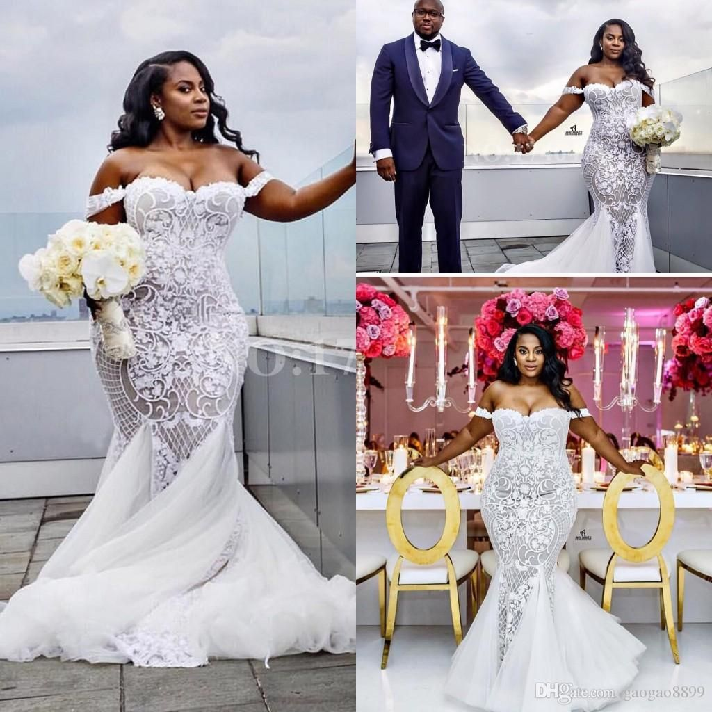 Sexy African Plus Size Beach Mermaid Wedding Dresses