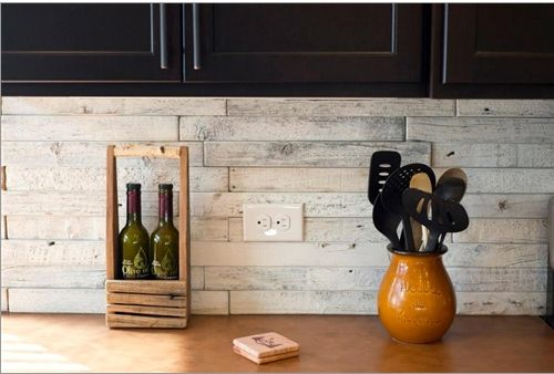 Mission Stone Tile Reclaimed Wood 2 X 18 Backsplash With Dark Cabinets Kitchen Tiles Backsplash Rustic Backsplash