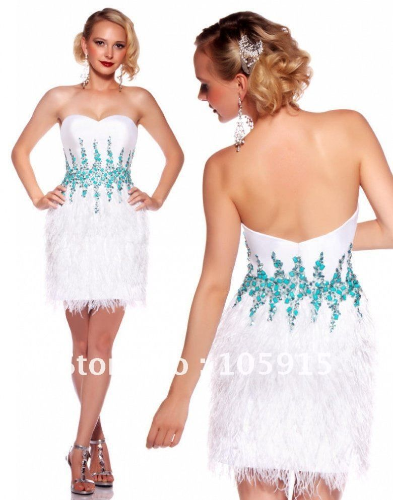 Fashionable White Sweetheart Neckline Sheath Feathered Beaded Mini ...