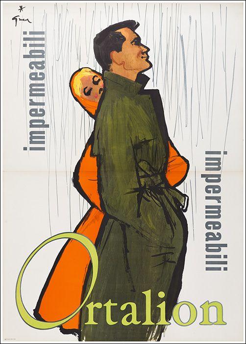 ✔️ Impermeabili Ortalion - by René Gruau - 1958