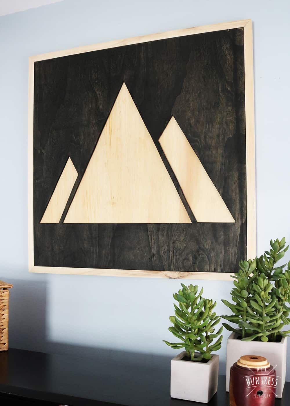 Diy plywood mountain wood art diy wall art wooden wall