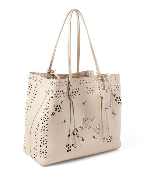 edc06bc79f Polo Ralph Lauren - Laser-Cut Floral Leather Tote