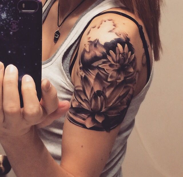Lotus Flower Shoulder Cap Tattoo The Lotus Is A Great Representation Of Life They Grow From Muddy Water Represe Shoulder Cap Tattoo Shoulder Tattoo Tattoos