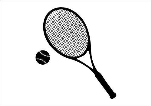 Tennis Bat And Ball Silhouette Graphics Silhouette Graphics