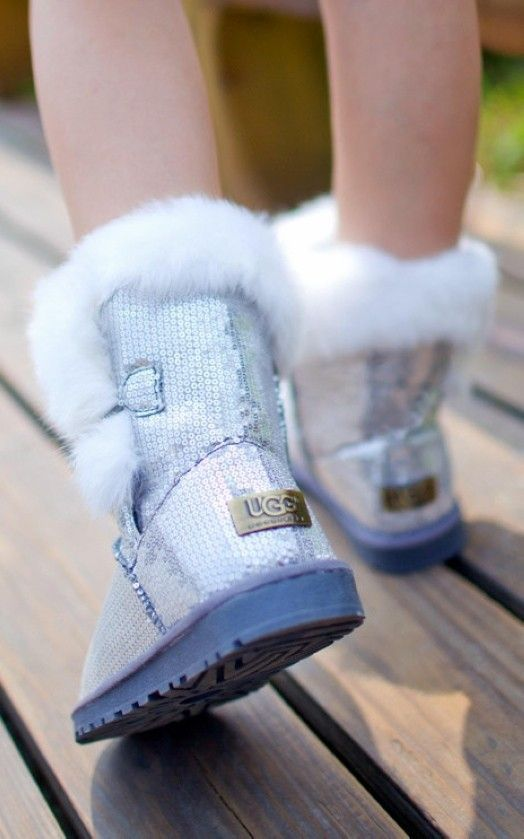 2013 Ugg Fox Fur Ankle Boots, Ugg Sequin Ankle Snow Boots
