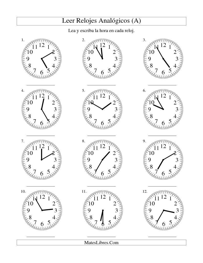 Worksheets La Hora Worksheet leer la hora en un reloj intervalos de 5 minutos a a