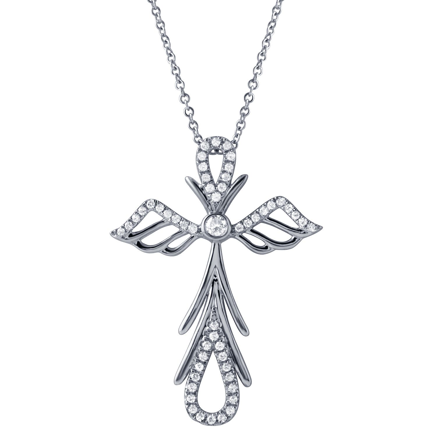 Angel cross diamond Cross Pendant