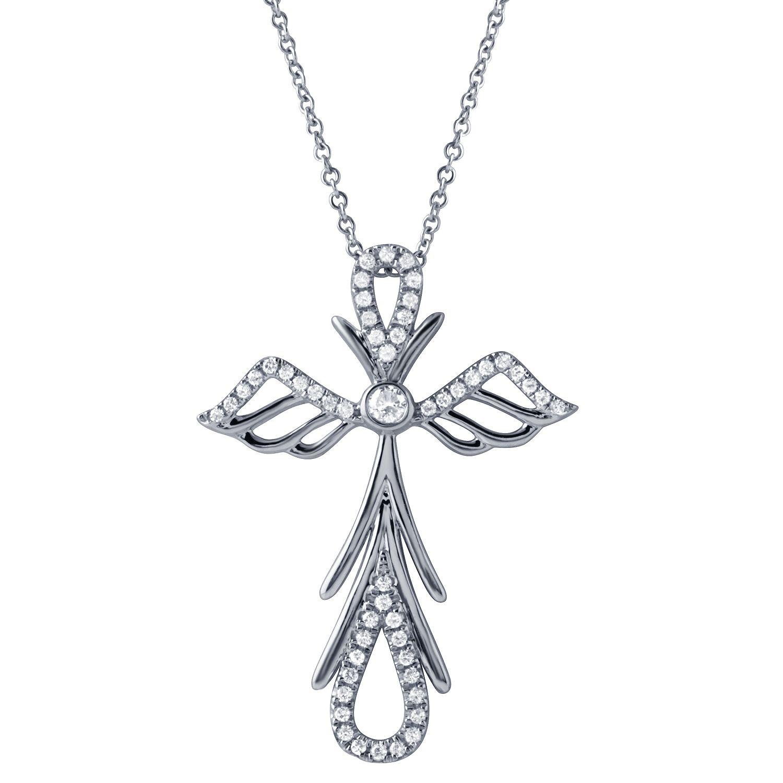 Angel cross diamond Cross Pendant | Diamond Cross Pendants ...
