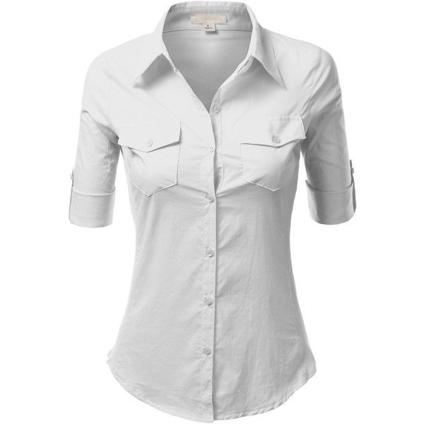 J.TOMSON Womens Button Down Cotton Shirt With Ribbed Side... (49 SAR) ❤ liked on Polyvore featuring tops, ribbed shirt, button-down shirt, cotton shirts, ribbed top and button up tops