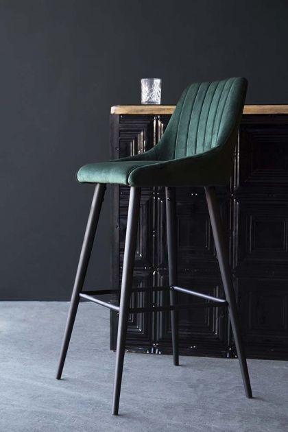 Tall Casino Velvet Bar Chair Rich Green Breakfast Bar Stools Bar Chairs Bar Stools