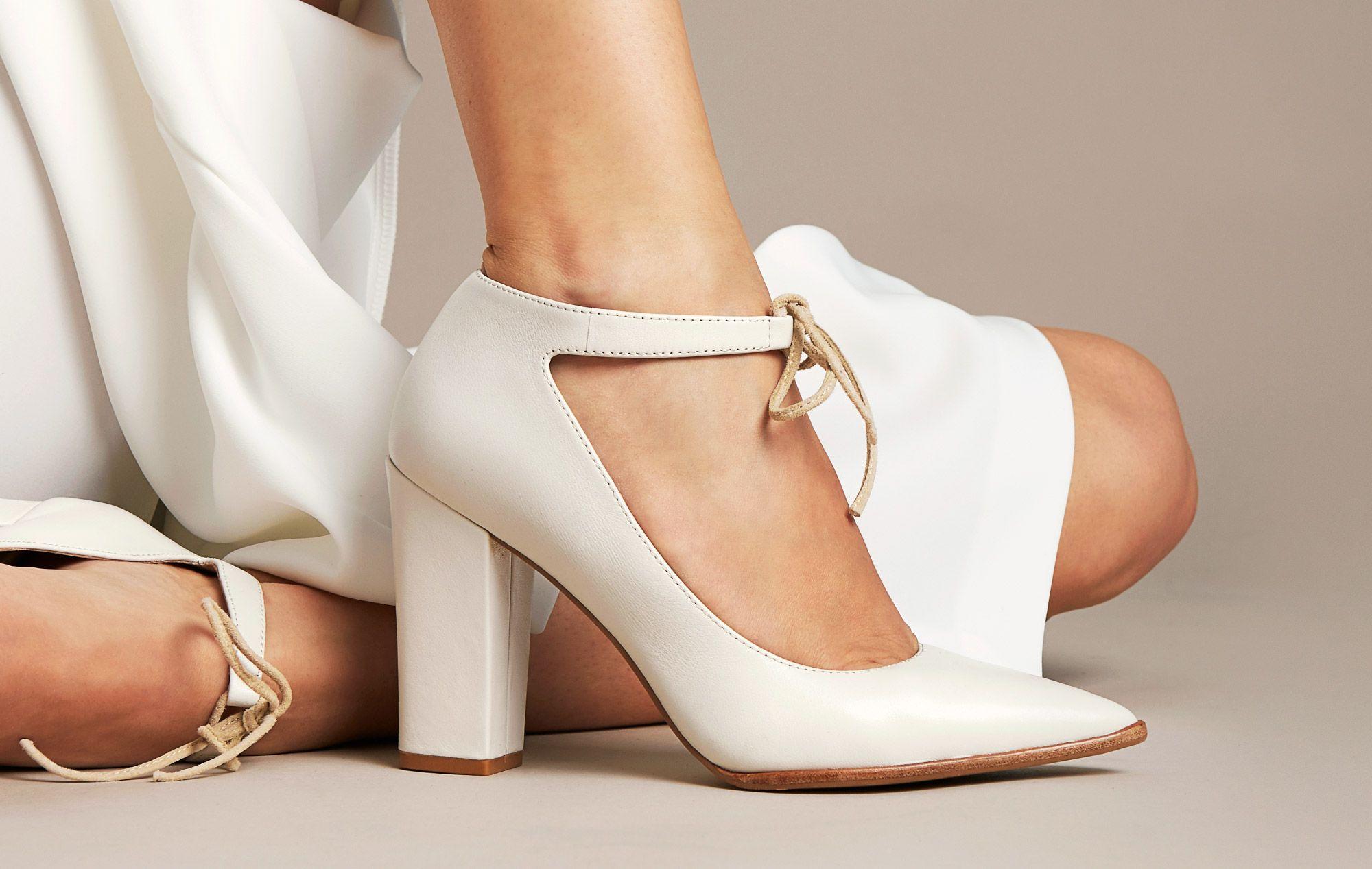 White Elda high heel with ankle strap   Tashers Shoes   Pinterest b365b6a9b66f