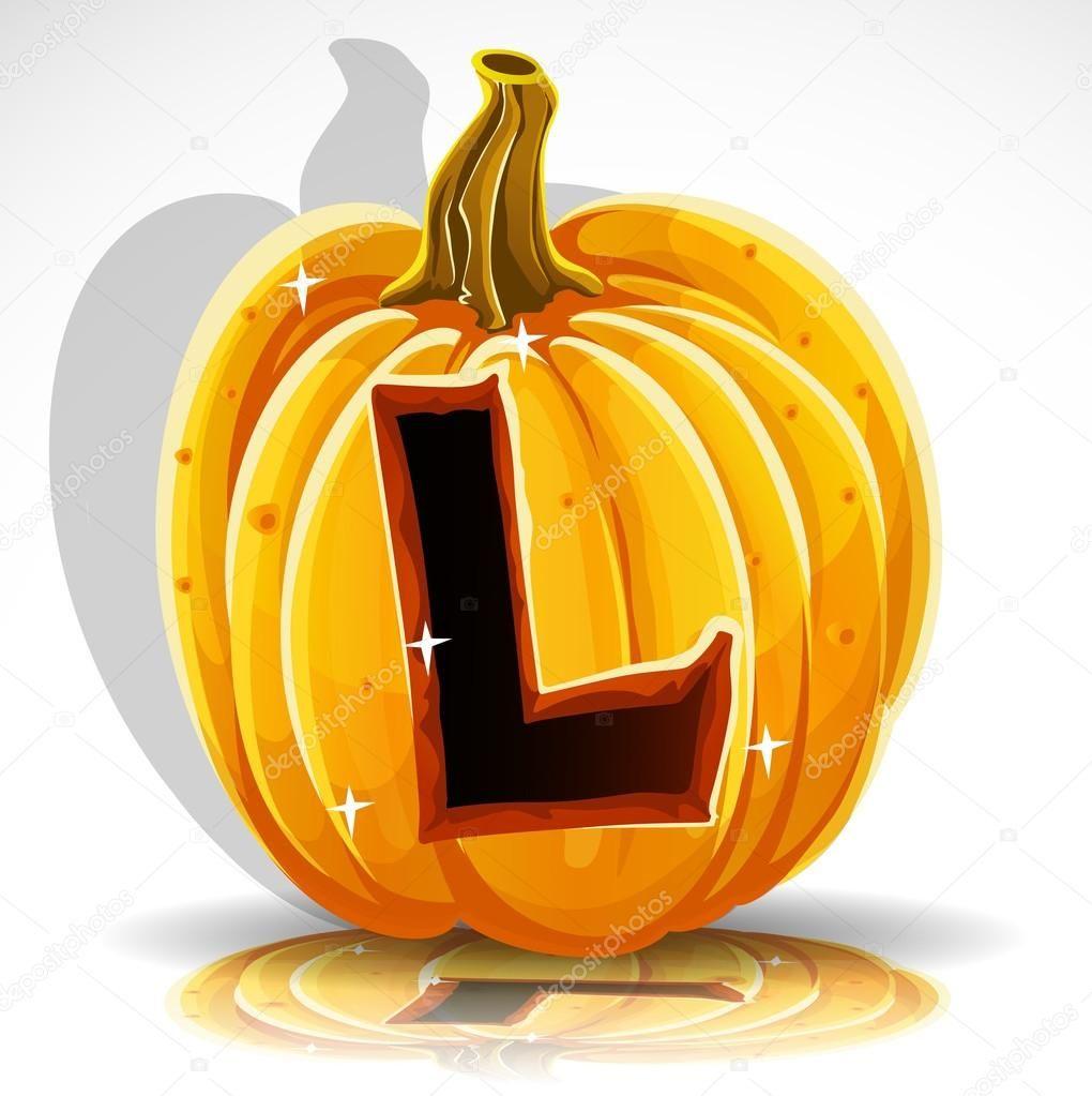 Happy Halloween font cut out pumpkin letter L #happyhalloweenschriftzug