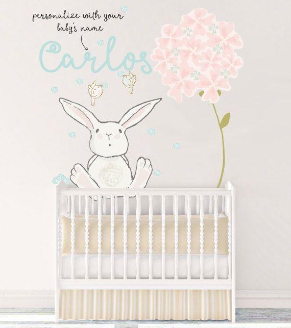 Customized Nursery Fabric Wall Decal Boy Name Reusable Bunny