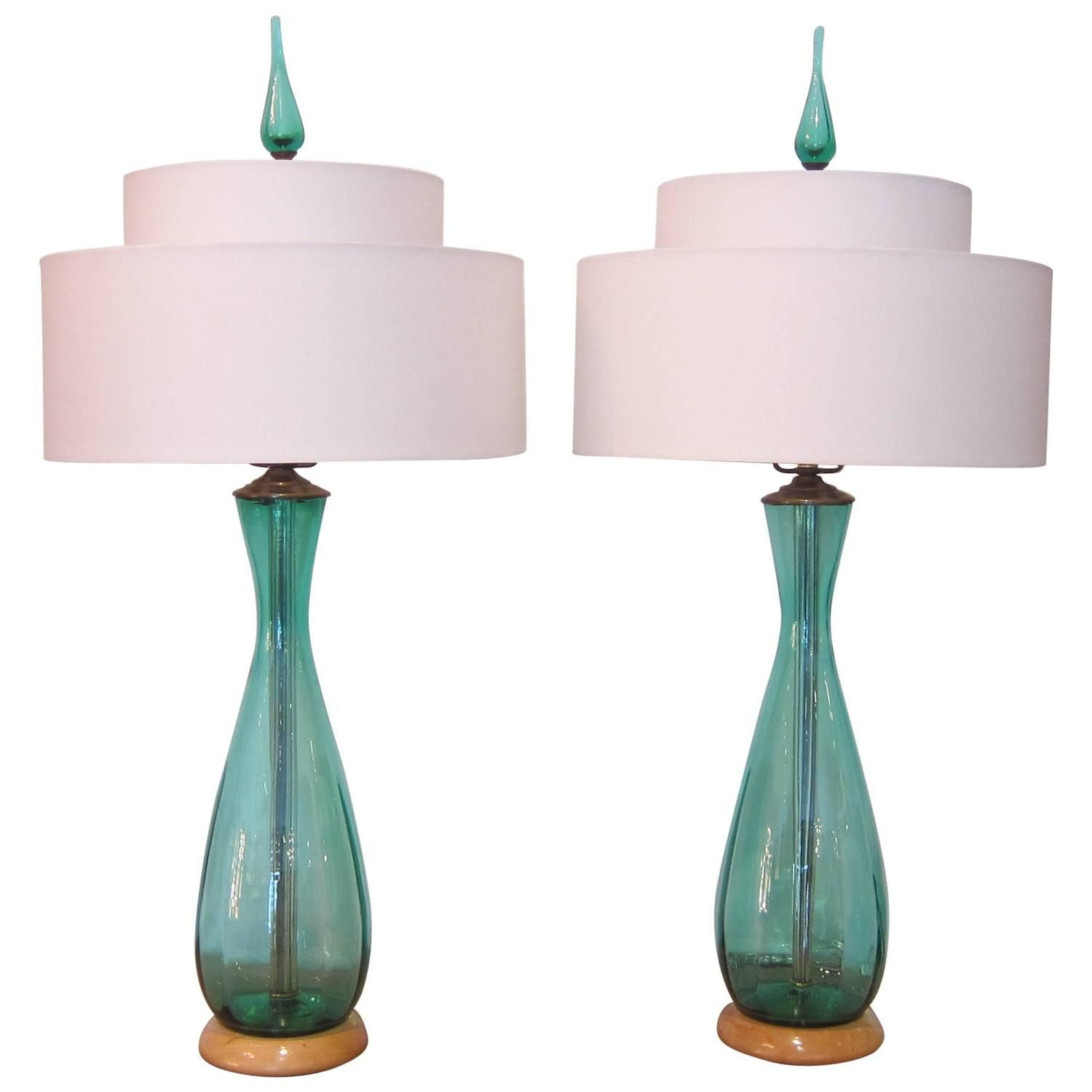 Good Pair Of Blue Green Glass Table Lamps By Blenko