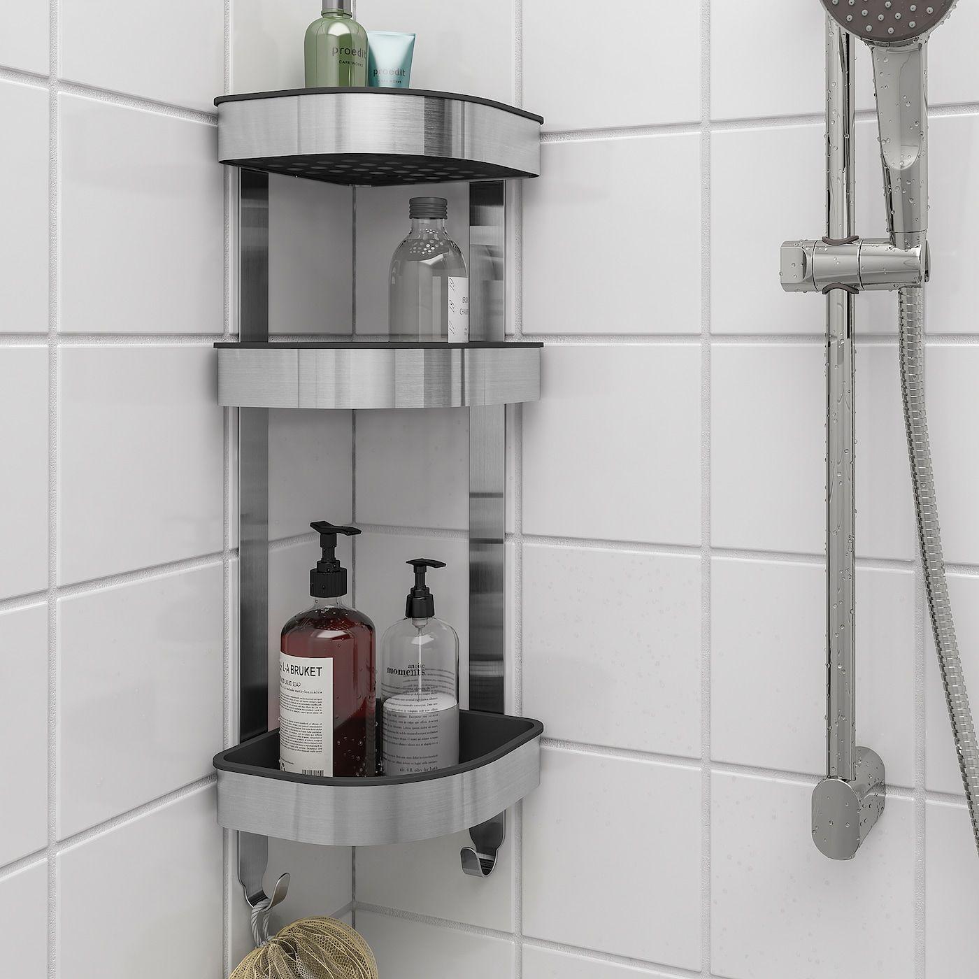 Brogrund Corner Wall Shelf Unit Stainless Steel 19x58 Cm