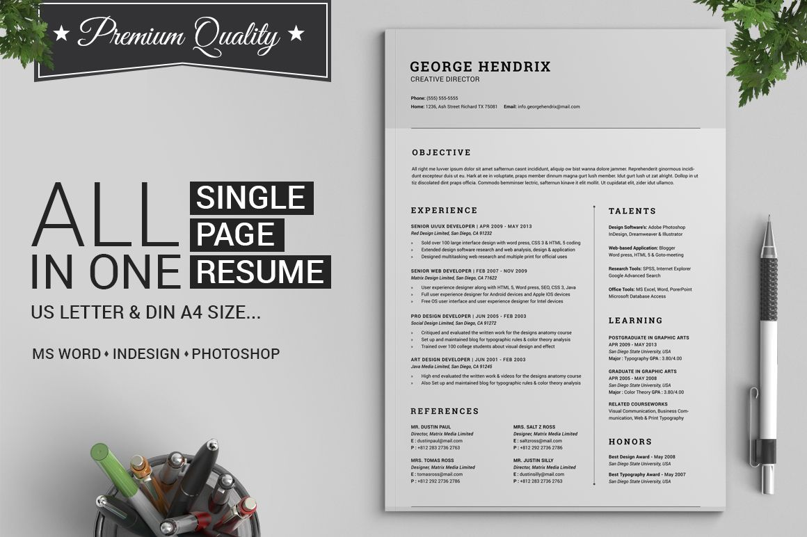 all in one single page resume pack by snipescientist on creative market
