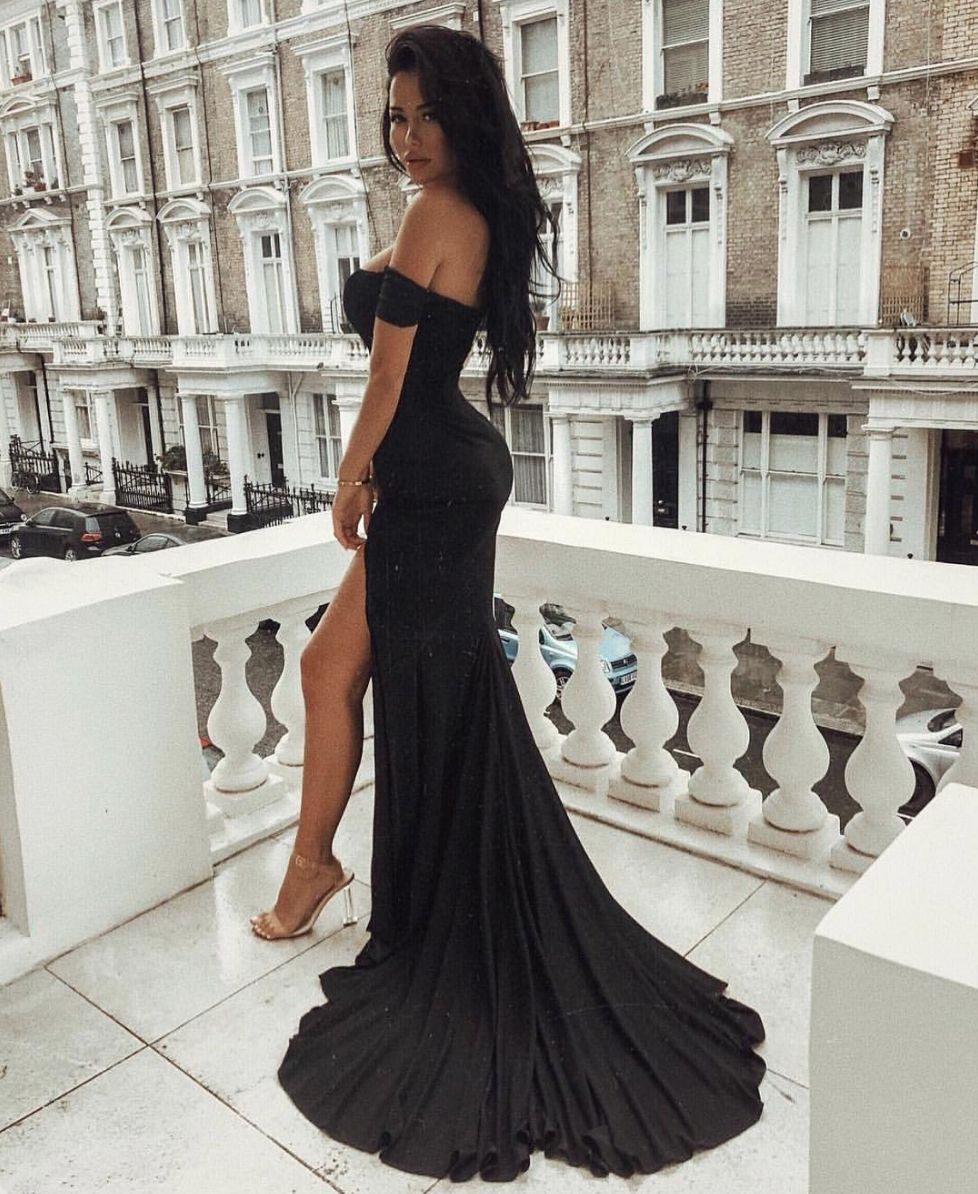 The Abyss By Abby Clara Black Bardot Off The Shoulder Gown With Mermaid Train Are A Shaide Boutiqu Evening Dresses Elegant Black Prom Dresses Prom Dresses Long [ 1194 x 978 Pixel ]